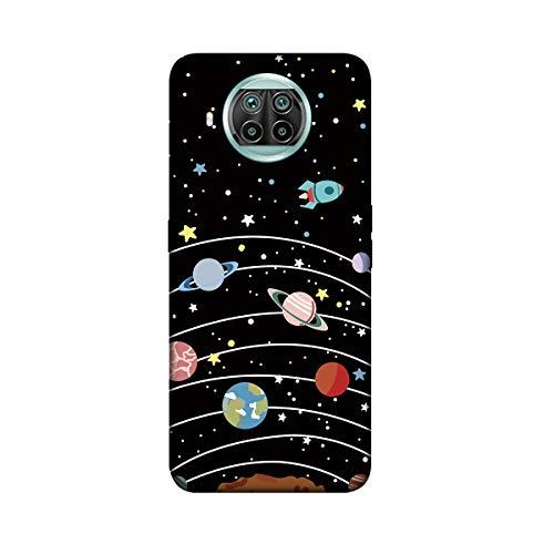 U/D DiaryTown Funda Compatible con Xiaomi Mi 10T Lite 5G Case Silicona Blando, Carcasa Xiaomi 10T Lite 5G Funda Resistente Negro con Dibujos Elegante Cover Fina Antigolpes Case, Galaxia