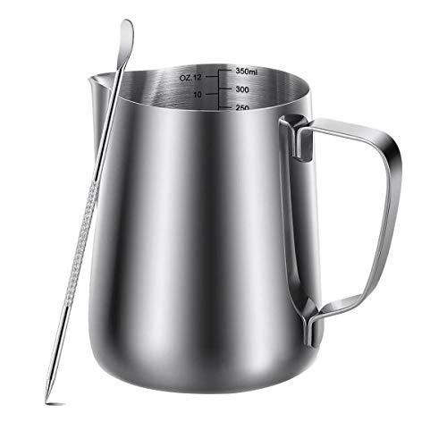 Kamenda Jarra de leche de acero inoxidable de 350 ml (12 FL.oz), jarra de acero inoxidable para espumar capuchino y latte art