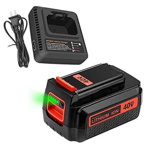 3.0Ah 40V Battery + Charger Replace for Black and Decker 36V 40V Battery LBX2040 LBXR36 LBXR2036 LST540 LCS1240 LBX1540 LST136W Black Decker 40-Volt Lithium Battery