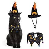 RYPET Cat Christmas Costume - Christmas Cat Collar with Bells and Santa Hat Cat Costume Suit for Cats and Small Dogs