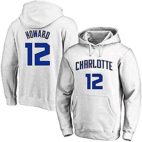 xzl Trikots Herren Damen Basketball Hoodie, NBA Charlotte Hornets No.12 Howard Jersey Kapuzenpullover Lose Basketball Sweatshirt, Weiß B-XL