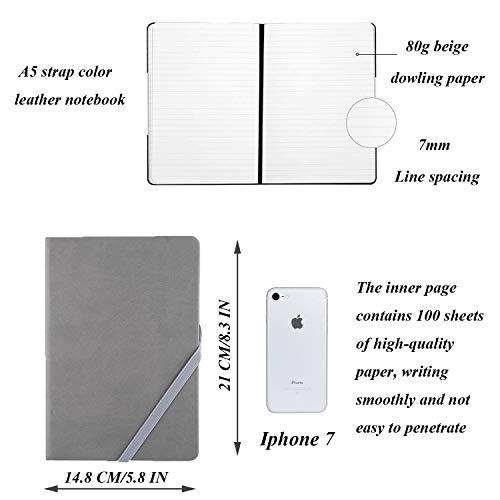 Cuaderno de Tapa Dura con Forro Clásico, papel grueso prima con una fina bolsillo interior, cuero sintético suave negro (Gris)