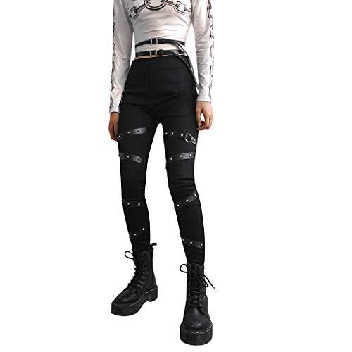 Damen Hose Dasongff Gothic Punk Lange Hose Mit Niet Steampunk Sexy Strumpfhose Leggings Bleistift Hosen Silm Fit Cool Streetwear Cargohosen Schwarz Seitengurt