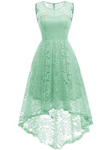 MuaDress 6006 Elegante Abendkleider Cocktailkleider Damenkleider Brautjungfernkleider aus Spitzen Knielange Rockabilly Ballkleid Rund Ausschnitt Mintgrün XL
