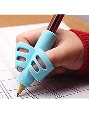 مجموعة من 3 قطع من مقابض اقلام الرصاص الدائرية الرائعة بثلاث الوان مختلفة لتصحيح وضعية الاصابع اثناء الكتابة للاطفال في مرحلة ما قبل المدرسة، مصنوعة من السيليكون المرن الصديق للبيئة بثلاثة الوان