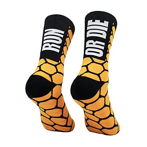 PERRO LOCO CLOTHES Calcetines compresivos de Running con Refuerzo en Puntera, prepuntera y talón. Edición Limitada. (Run OR Die Naranja, 40-42)