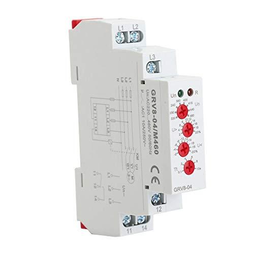 Spannungsüberwachungsrelais, GRV8-04 Dreiphasiges Spannungsüberwachungsrelais, Phasenfolge, Phasenausfallschutz M460, 35 mm DIN-Schienenmontage