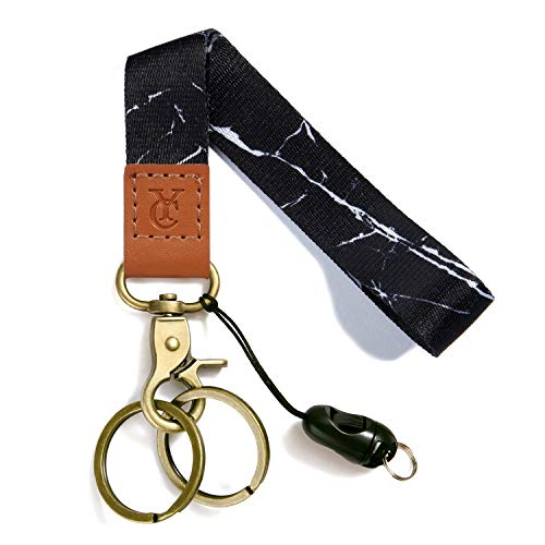 Wrist Lanyards Key Chain Holder Premium Quality Wristlet Lanyard Keychain for Men Women (Black Marble)