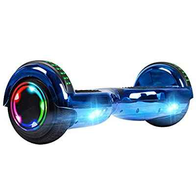 UNI-SUN Chrome Hoverboard for Kids Two-Wheel Self Balancing Bluetooth Hoverboard with LED Lights - UL 2272 Certified, Chrome Blue