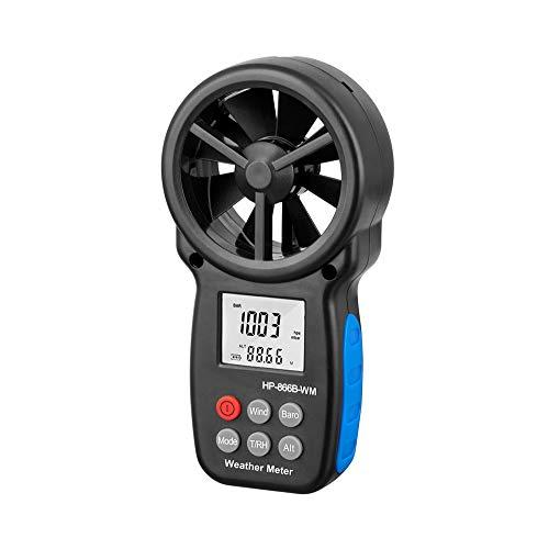 LaMei Yang Digitales Handanemometer, für Windgeschwindigkeit, Temperatur, Windkühltester, Luftfeuchtigkeit, Höhe, Luftdruckmesser, zum Klettern von Drohnen, usw.