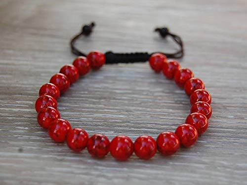 Coral rojo natural de 8 mm de forma redonda, cuentas lisas enhebradas con pulsera de shamballa de hilo de color negro para hombres y mujeres. Regalo para él / ella, curación, prosperidad.