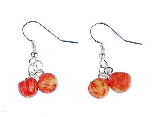 Miniblings Apfel Ohrringe Hänger Obst Äpfel 2er 3D Essen Kawaii Gala Pink Lady - Handmade Modeschmuck I Ohrhänger Ohrschmuck versilbert