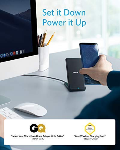 Anker Wireless Charger, PowerWave Stand, Qi-Certified for iPhone 11, 11 Pro, 11 Pro Max, XR, Xs Max, XS, X, 8, 8 Plus, 10W Fast-Charging Galaxy S10 S9 S8, Note 10 Note 9 and More (No AC Adapter) 3 The Anker Advantage: Join the 50+ million powered by our leading technology. A Galaxy of Speed: A high-efficiency chipset provides 10W high-speed charging for Samsung Galaxy. iPhones get a boosted 5W charge at 10% faster than other wireless chargers. Flip It: Charge in landscape orientation while watching videos, or portrait mode for messaging and facial recognition.