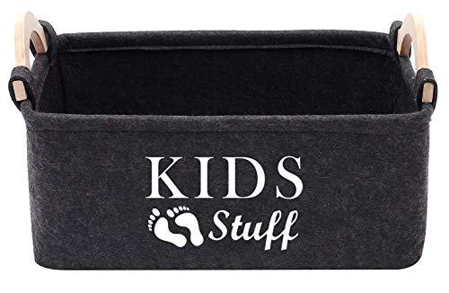 Xbopetda Filz-Aufbewahrungskorb für Spielzeug, Aufbewahrungskörbe für Babys und Kinder, mit Holzgriff, groß, faltbar, Aufbewahrungsbox für Regale, Home Office, dunkelgrau