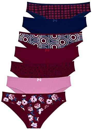 LOREZA 7er Pack Damen Slips aus Baumwolle (42-XXL, Modell 5)