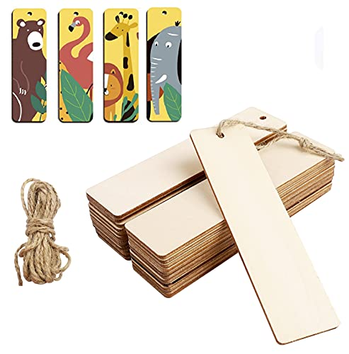 24 Pieces Wood Blank Bookmarks, Unfinished Rectangle Shape Wooden Craft Bookmark with Hemp Ropes for DIY Handmade Accessories Craft Projects Hanging Decorations Painting