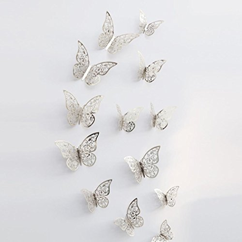 MEIbax 12 Stücke 3D Hohlwandaufkleber Schmetterling Kühlschrank für Heimtextilien Neu (F)