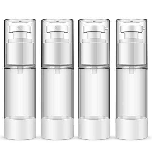 Pumpspender Airless,30ml Flasche mit Spender Vakuum Kosmetik Behälter,Pumpflasche, Reise Spenderflasche für Tiegel, Lotion Spender, Creme Spender Nachfüllbar(4 Stück)