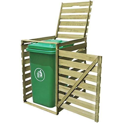 UnfadeMemory Mülltonnenbox Mülltonnenverkleidung Imprägniertes Holz 240 L Mülltonnenabdeckung mit Aufklappbarer Deckel und Türen Verrottungsfest Holz Gartendekor (1 Tonne; 75,2 x 92 x 120 cm)