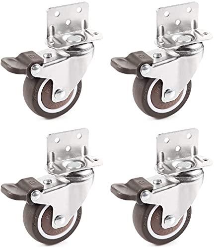 small castor wheels with brakes,castor wheel with l type bracket,I shaped bracket wheel castor wheels,4xheavy duty braked 50mm rubber swivel castor wheel trolley 200kg,for Table,Cabinet (50mm)