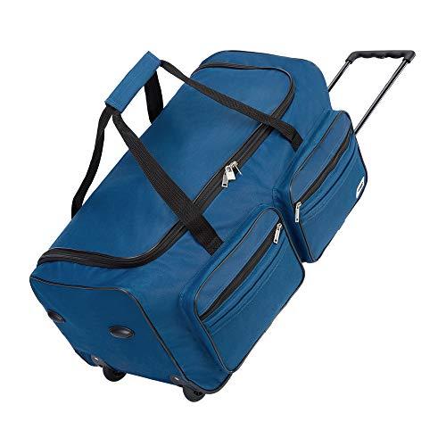Deuba XL Reisetasche 85L Trolleyfunktion Teleskopgriff Blau | Duffle Bag Sporttasche Reisegepäck Gepäcktasche