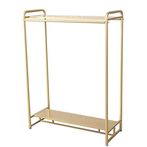 Shoe rack Rack de ropa con caña de perchas y estantes dobles, Ropa de metal de trabajo pesado Organizador de rack de ropa para ropa para ropa de dormitorio Organizador de ropa (Color: Oro, Tamaño: 120
