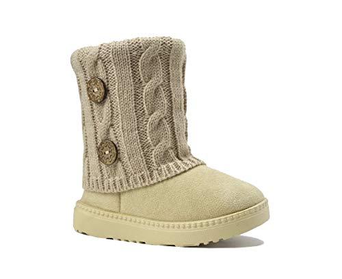 REDVOLUTION Kid Boots Toddler Girls Cute Flower Suede Knitting Snow Boot || 2263 (Toddler 10 B(M), 385 Beige)