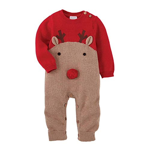 Mud Pie Knit Reindeer One Piece (9-12 Months) Red