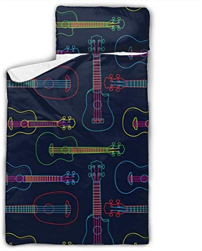 Pop Colorful Line Art Hawaiian Ukulele Kids Toddler Nap Mat with Pillow - Includes Pillow & Fleece Blanket for Boys and Girls Napping at Daycare, Preschool, Or Kindergarten