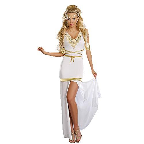 CAGYMJ Halloween Kostüm Damen Kleid,Cosplay Sexy Griechische Göttin Weiß Freiliegendes Bein Langer Rock,Oktoberfest Karneval Party