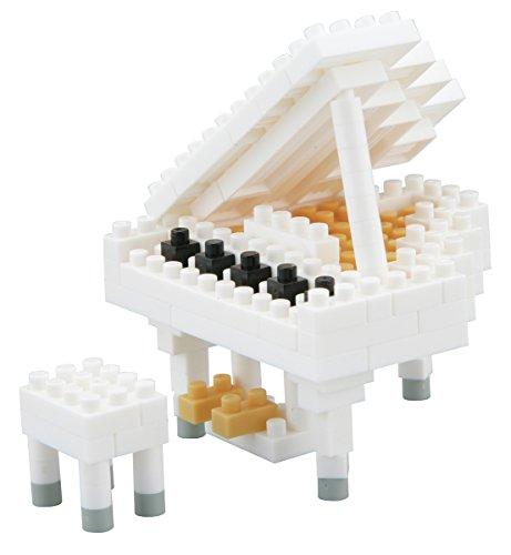 Nanoblock 58514267 - Konzertflügel, 3D-Puzzle, Mini Collection, Schwierigkeitsstufe 2, mittel, 130 Teile, weiß