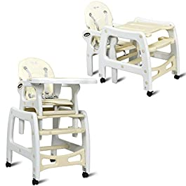 INFANS 3 in 1 Baby High Chair, Convertible Toddler Table Chair Set, Rocking Chair, Multi-Function Seat with Lockable Universal Wheels, Adjustable Seat Back, Removable Trays