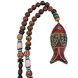 Boho Beaded necklaces for women Long Pendant Beads wood Necklaces for women beads Necklace wooden By DREMINOVA (Good Luck Fish)