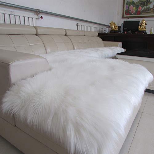 YEARLY Long Peluche Salon Couverture, Anti-dérapant Hiver Épais Housse de canapé Housse de canapé Européen Luxueuse Protecteur de Meubles Sofa en Cuir Serviette canapé-Blanc 80x180cm(31x71inch)