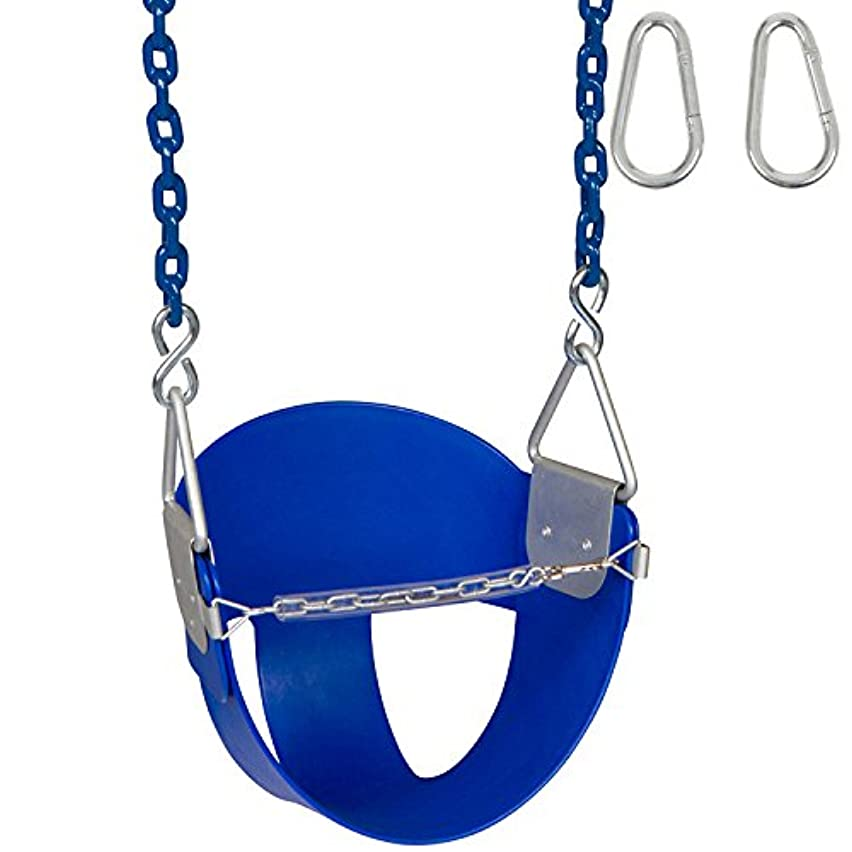 Swing Set Stuff Highback Half Bucket (Blue) with 5.5 Ft. Coated Chain and SSS Logo Sticker