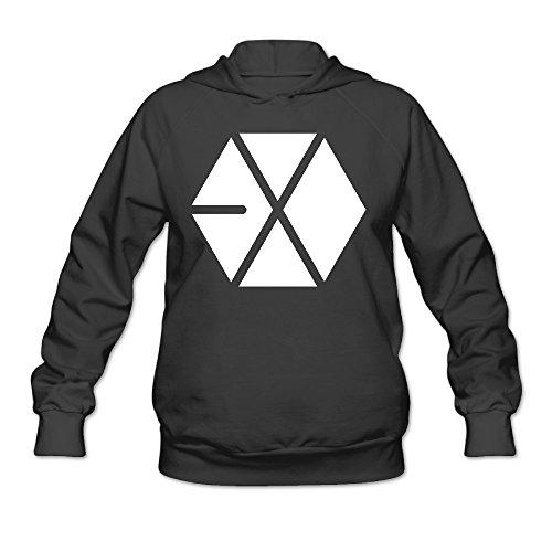 PTR Women's Hoodie - Kpop EXO Logo Black Size XL