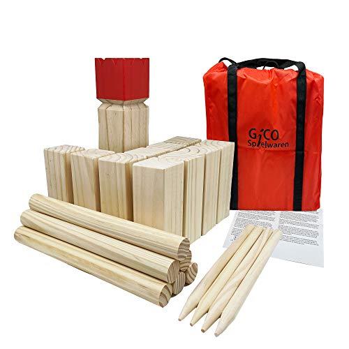 GICO Winkingerschach XXL - Kubb Spiel Set, König 30 x 7 x 7 - Der Outdoor Spielspaß in Top Qualität aus Massivholz mit Transporttasche - 3263