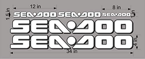 SEA-DOO-WHITE -3D-LOGO-4x34-DECAL-SET-GRAPHIC-STICKER-PACKAGE, REPLACEMENT