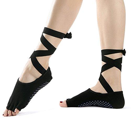 Calcetines de Yoga–Antideslizante Skid Toeless Calcetines agarre con Listón de seda para mujer & Girl Negro Barre Pilates Ejercicio mitad Dedos calcetines de algodón de corte bajo