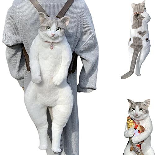 Mochila de gato de simulación hecha a mano, personalidad Mochila de gato de simulación creativa Muñeca de juguete Modelo de gatito Gato falso Juguete de peluche El gato parece un gato real (2 PCS)