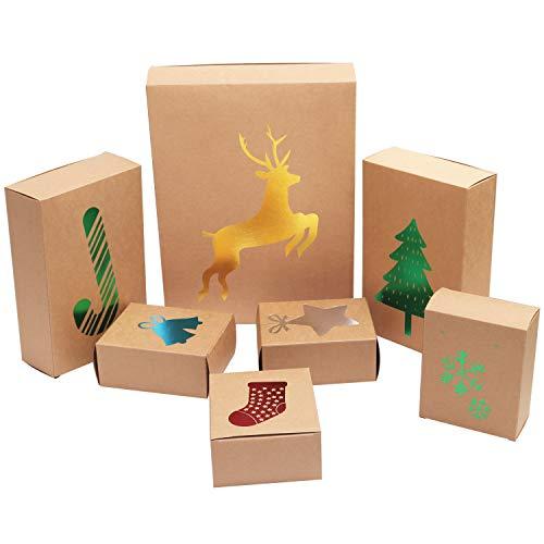 Belle Vous Caja para Regalo de Navidad en Empaque Plano (Pack de 7) Caja Navidad de Cartón con 3 Tamaños Diferentes Papel de Aluminio Caja de Chuches Regalo Galletas Dulces Cosméticos y Accesorios
