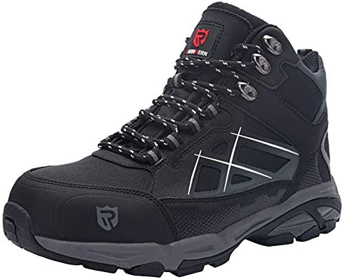 LARNMERN Zapatos Seguridad con Punta de Acero para Hombre Mujer Zapatillas Seguridad Ligeras (42.5 Negro)