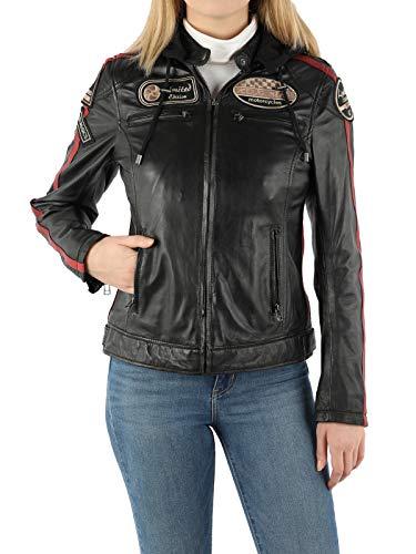 ROXBIKE Lederjacke Damen mit Kapuze, schwarz, Motorradjacke Damen aus Leder mit Protektoren, Bikerjacke Damen aus Echtleder