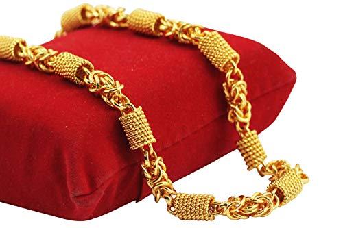 Gemshop Gold Plated Designer Spiga Link Handmade Chain for Men, 20