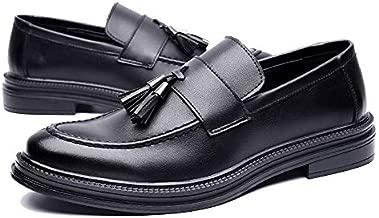 Men'S Loafers Pointed Work shoes Vintage Tassel Casual Shoes Comfy Lightweight Leather Loafer Flats Non Slip Walk Shoe- black,41