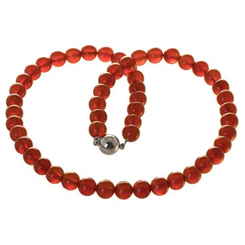 Armella Karneol Kette Collier Edelsteinkette 8 mm Perlen, Magnetverschluss (50)