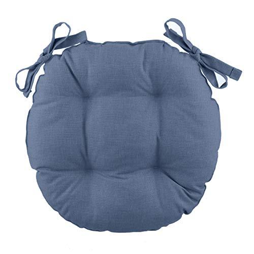 Cuscino sedia tondo Basik blu denim in cotone, 38 cm Blu