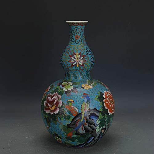 ZYG222 Qing Dynasty Qianlong handgemachte Seidenblume und Vogel antike chinesische Keramik Kürbis Vase