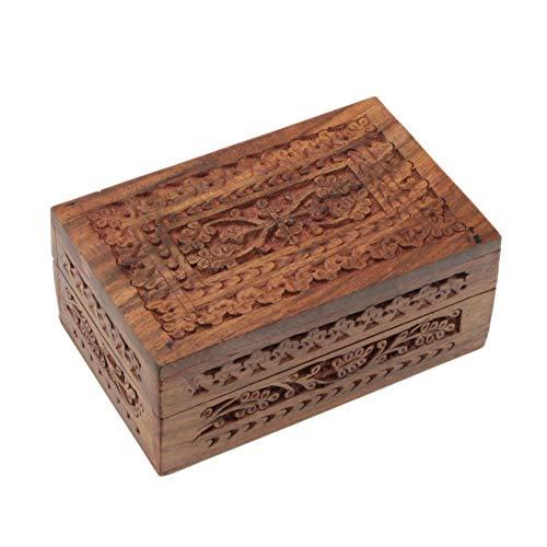 PatchouliWorld Kästchen aus Holz mit floralen Schnitzereien India Style - mit rotem Samt