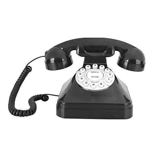 Teléfono Fijo Retro, WX-3011 Teléfono de Escritorio con núcleo de plástico ABS de Moda con función de Almacenamiento de rellamada de Rotura de Flash para Hotel de Oficina en casa(Negro)